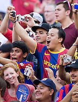 Barcelona fans cheer on their team before the friendly at FedEX Field in Landover, MD.  Manchester United defeated FC Barcelona, 2-1.