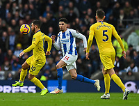 Chelsea's Eden Hazard (left) under pressure from Brighton & Hove Albion's Leon Balogun (right)  <br /> <br /> Photographer David Horton/CameraSport<br /> <br /> The Premier League - Brighton and Hove Albion v Chelsea - Sunday 16th December 2018 - The Amex Stadium - Brighton<br /> <br /> World Copyright © 2018 CameraSport. All rights reserved. 43 Linden Ave. Countesthorpe. Leicester. England. LE8 5PG - Tel: +44 (0) 116 277 4147 - admin@camerasport.com - www.camerasport.com