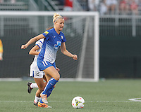 Allston, Massachusetts - July 9, 2015:   In a National Women's Soccer League (NWSL) match, FC Kansas City (white) defeated Boston Breakers (blue), 3-2, at Soldiers Field Soccer Stadium.