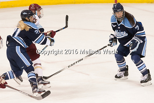 Tereza Vanišová (Maine - 21), Caroline Ross (BC - 25), Alyson Matteau (Maine - 7) - The Boston College Eagles defeated the visiting University of Maine Black Bears 2-1 on Saturday, October 8, 2016, at Kelley Rink in Conte Forum in Chestnut Hill, Massachusetts.  The University of North Dakota Fighting Hawks celebrate their 2016 D1 national championship win on Saturday, April 9, 2016, at Amalie Arena in Tampa, Florida.
