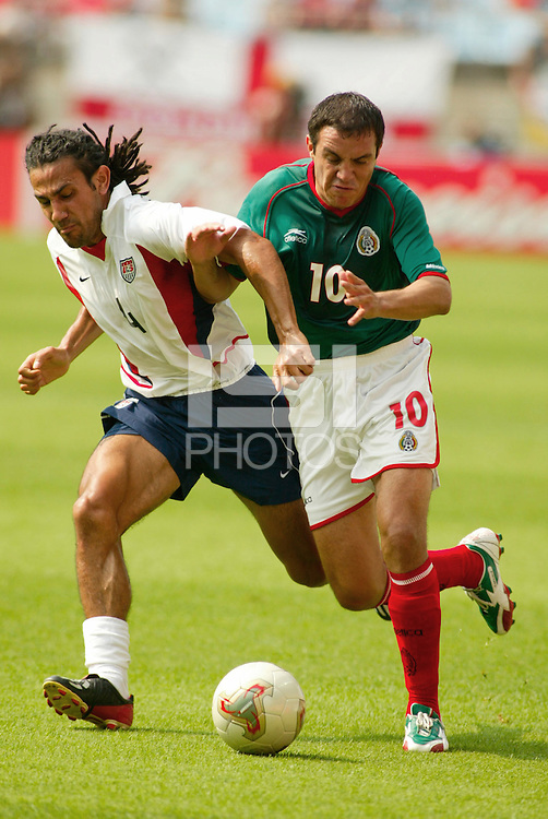 Pablo Mastroeni vs. Cuauhtemoc Blanco in Jeonju, Soth Korea, Monday June 17, 2002. Images provided in partnership with International Sports Images. (Please credit: John Todd/Int'l Sports Images/DSA)