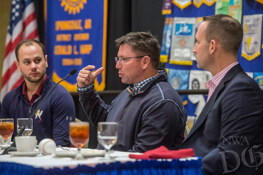NWA Democrat-Gazette/ANTHONY REYES @NWATONYR<br /> Northwest Arkansas Naturals' manager Vance Wilson (center) talks as Scott Sharp, (right) the Kansas City Royals' Assistant General Manager/Baseball Operations, and Benjamin Kelly, radio broadcaster, look on Monday, Jan. 15, 2017 during the Springdale Rotary hosted the Northwest Arkansas Naturals Hot Stove Luncheon at the Springdale Holiday Inn Convention Center.