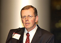 """Jan 29, 2002, Montreal, Quebec, Canada; <br /> <br /> CIBC Chairman & CEO John Hunkin, photographed at the Montreal Museum of Fine Art, January 29, 2002 while the CIBC was donating """"Hommage ŕ Grey Owl"""" by Jean-Paul Riopelle to the Montreal Museum of Fine Arts. The painting has hung on the wall of the top floor of CIBC's head office in Toronto for the last 25 years.<br /> <br /> Stockbrokers from the CIBC and from 3 other financial institution are currently (Jan 30, 2002) under investigation by 3 Canadian Stock Exchange Commissions and also by the London (UK) Stock Exchange, for insider trading during the buy of  Canadian Hunter Exploration and other deals.<br /> <br /> (Mandatory Credit: Photo by Sevy - Images Distribution (©) Copyright 2002 by Sevy<br /> <br /> NOTE :  D-1 H original JPEG, saved as Adobe 1998 RGB"""