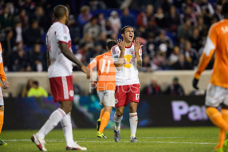 Tim Cahill (17) of the New York Red Bulls reacts to a missed scoring opportunity. The Houston Dynamo defeated the New York Red Bulls 2-1 (4-3 on aggregate) in overtime of the second leg of the Major League Soccer (MLS) Eastern Conference Semifinals at Red Bull Arena in Harrison, NJ, on November 6, 2013.