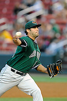 Pitcher E.J. Encinosa (48) of the Augusta GreenJackets delivers a pitch in a game against the Greenville Drive on Thursday, June 11, 2015, at Fluor Field at the West End in Greenville, South Carolina. Greenville won, 10-1. (Tom Priddy/Four Seam Images)