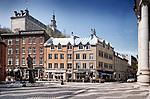 Fountain La Vivrière, Bistro Le Brigantin, Indochine resto express and other stores and restaurants on Rue Saint Paul street in Old Quebec City. Quebec, Canada. Rue Saint-Paul, Rue de Sault-au-Matelot, Ville de Québec.