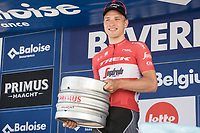 Stage winner Matthias Brandle (AUT/Trek-Segafredo) receiving a Belgium Beer  Barrel . <br /> <br /> Baloise Belgium Tour 2017<br /> Stage 3: ITT Beveren - Beveren (13.4km)