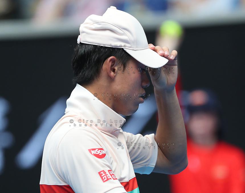 17th January 2019, Melbourne Park, Melbourne, Australia; Australian Open Tennis, day 4; Kei Nishiroki of Japan reacts <br /> during the match against Ivo Karlovic of Croatia