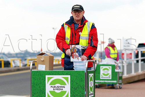 27.02.2016. Britannia Stadium, Stoke, England. Barclays Premier League. Stoke City versus Aston Villa. A Stoke match day programme seller outside the ground