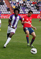 Real Valladolid´s Manucho and Osasuna´s Alejandro Arribas during match of La Liga 2012/13. 31/03/2013. Victor Blanco/Alterphotos /NortePhoto