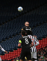 Gary Hooper with the back header in the St Mirren v Celtic Scottish Communities League Cup Semi Final match played at Hampden Park, Glasgow on 27.1.13.
