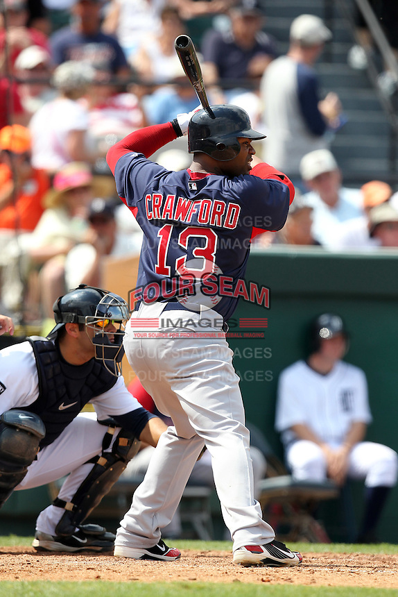 Boston Red Sox Carl Crawford #13 during a spring training game vs. the Detroit Tigers at Joker Marchant Stadium in Lakeland, Florida;  March 15, 2011.  Boston defeated Detroit 2-1.  Photo By Mike Janes/Four Seam Images