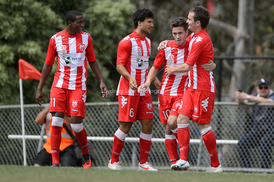 MELBOURNE - 3 NOV: Zac WALKER of the Heart  celebrates his goal in the round three National Youth League match between Melbourne Heart and Brisbane Roar at John Cain Reserve on 3 November 2012. (Photo Sydney Low/syd-low.com/Melbourne Heart)
