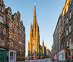 The newly risen sun lights up the Tolbooth Kirk on the Royal Mile, Edinburgh, Scotland. Now also known as The Hub, this former church is the home of the Edinburgh Festival.