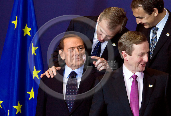 BRUSSELS - BELGIUM - 11 MARCH 2010 -- EU Summit under Hungarian Presidency -- Family-photo -- Silvio BERLUSCONI (le), Prime Minister of Italy (with a bandage on his cheek), Yves LETERME, Prime Minister of Belgium, José Luis Rodríguez ZAPATERO (Jose, Rodriguez), Prime Minister of Spain and Enda KENNY, Prime Minister of Ireland (looking away). -- PHOTO: Juha ROININEN / EUP-Images