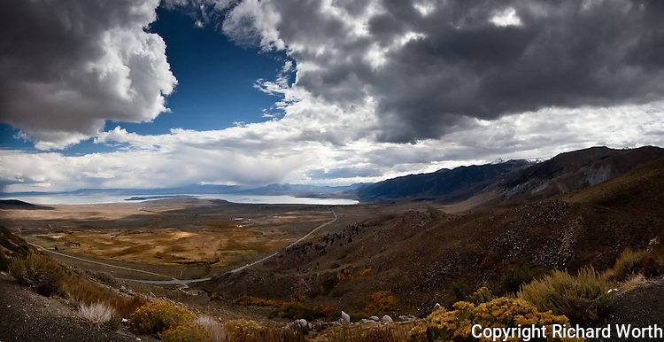 A panoramic image, compiled from seven images of Mono Lake, the Eastern Sierras and Highway 395.