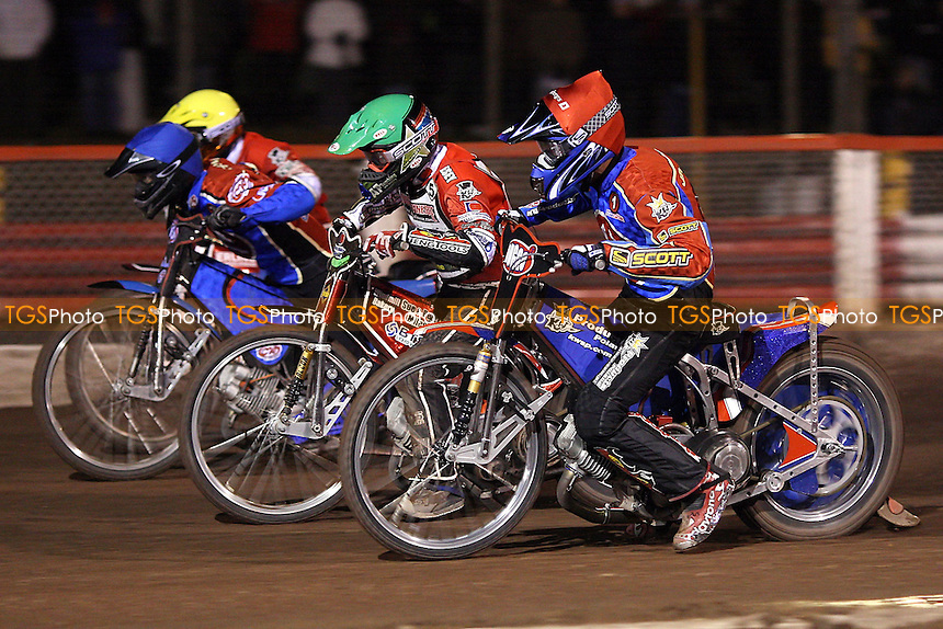 Heat 6: Andreas Jonsson (red) and Leigh Lanham on their way to a 5-1 ahead of Daniel King (green) and Henrik Moller - Lakeside Hammers vs Peterborough Panthers - Craven Shield Speedway at Arena Essex - 28/03/08 - MANDATORY CREDIT: Gavin Ellis/TGSPHOTO. Self-Billing applies where appropriate. NO UNPAID USE. Tel: 0845 094 6026