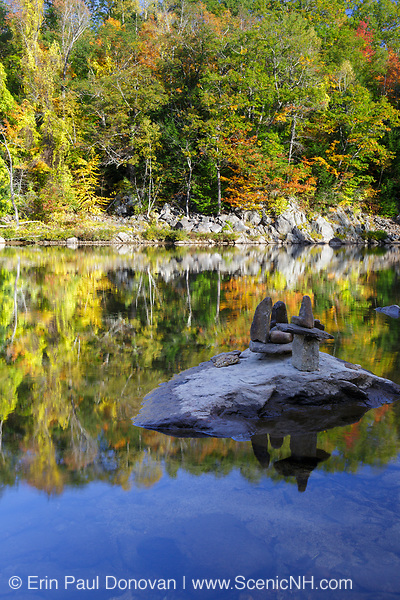 Autumn foliage along the Pemigewasset River at Livermore Falls in Campton, New Hampshire USA