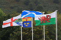 Flags from the four nations during Round 3 Foursomes of the Men's Home Internationals 2018 at Conwy Golf Club, Conwy, Wales on Friday 14th September 2018.<br /> Picture: Thos Caffrey / Golffile<br /> <br /> All photo usage must carry mandatory copyright credit (&copy; Golffile | Thos Caffrey)