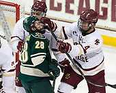 Luke McInnis (BC - 3), Anthony Petruzzelli (UVM - 28), Michael Kim (BC - 4) - The Boston College Eagles defeated the University of Vermont Catamounts 7-4 on Saturday, March 11, 2017, at Kelley Rink to sweep their Hockey East quarterfinal series.The Boston College Eagles defeated the University of Vermont Catamounts 7-4 on Saturday, March 11, 2017, at Kelley Rink to sweep their Hockey East quarterfinal series.