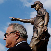 TALLAHASSEE, FL. 9/24/04-FSU Football Coach Bobby Bowden speaks after a 9-foot-tall bronze statue of him was unveiled in front of the athletic department offices, Friday in Tallahassee. The likeness was created by Tallahassee sculptor Sandy Proctor and was commissioned by Pat and Pam Roberts..COLIN HACKLEY PHOTO