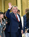October 18, 2016, Tokyo, Japan - Thomas Back, International Olympic Committee president, waves goodbye following his meeting with Gov. Yuriko Koike during their meeting at the City Hall in Tokyo on Tuesday, October 18, 2016. The IOC chief and the governor discussed a proposed move of the rowing and canoe events out of Tokyo as part of her attempt to cut back on spending for the 2020 Tokyo Olympics.  (Photo by Natsuki Sakai/AFLO) AYF -mis-