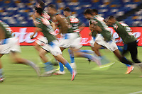 Napoli SSC during the warm up<br /> prior to the Serie A football match between SSC  Napoli and SS Lazio at stadio San Paolo in Naples ( Italy ), August 01st, 2020. Play resumes behind closed doors following the outbreak of the coronavirus disease. <br /> Photo Cesare Purini / Insidefoto