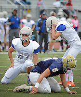 Bensalem kicker Matt Corbett (87) reacts after missing an extra point as Scott Rooney (37) watches the ball sail left against Council Rock South at Council Rock North Saturday October 8, 2016 in Newtown, Pennsylvania. (Photo by William Thomas Cain)