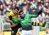 18th March 2018, Dortmund, Germany;  Football Bundesliga, Borussia Dortmund versus Hannover 96 at the Signal Iduna Park. Dortmund's Sokratis (l) and De Jesus of Hanover challenge for the ball.