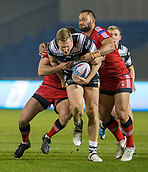 16th March 2018, The AJ Bell Stadium, Salford, England; Betfred Super League rugby, Salford Red Devils versus Hull FC; Dean Hadley is tackled by Robert Lui