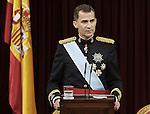 Coronation ceremony in Madrid. King Felipe VI of Spain of Spain at Congreso de los Diputados. June 19 ,2014. (ALTERPHOTOS/EFE/Pool)