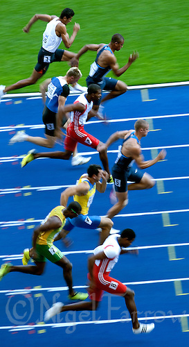 19 AUG 2009 - BERLIN, GER - Trey Hardee (USA) (fourth from bottom) leads his 100m Heat in the Decathlon - World Athletics Championships (PHOTO (C) NIGEL FARROW)