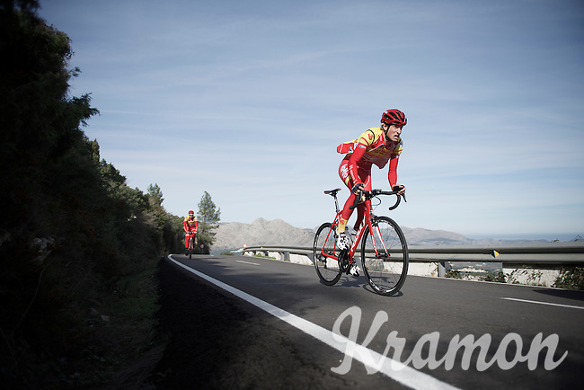 Florent Delfosse (BEL/Wallonie-Bruxelles) training up Coll de Rates (Alicante, Spain)<br /> <br /> January 2016 Training Camps