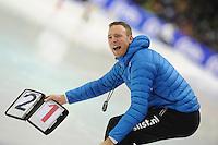 SCHAATSEN: HEERENVEEN: 23-01-2016, IJsstadion Thialf, NK Allround, Martin ten Hove (trainer Team Koopjesdrogisterij.nl), ©foto Martin de Jong