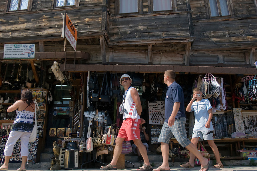 Nesebar, Bulgaria..Holidaymakers in the 5,000 year old town of Nesebar, which is overwhelmed by tourists from neighbouring Sunny Beach every year.