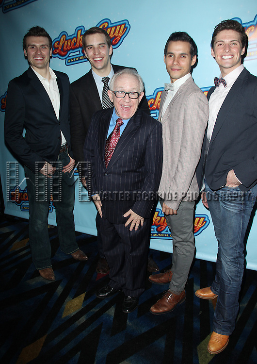 Joshua Woodie, Wes Hart, Leslie Jordan, Xavier Cano & Callan Bergmann.attending the Opening Night After Party for 'Lucky Guy' at Planet Hollywood in New York City.