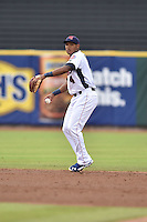 Tennessee Smokies shortstop Addison Russell #4 throws to first during a game against the Mississippi Braves at Smokies Park on July 21, 2014 in Kodak, Tennessee. The Braves defeated the Smokies 4-3. (Tony Farlow/Four Seam Images)