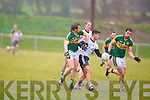 IT Tralee's Denis McElligott gets between Kerry's captain Donnchadh Walsh and Anthony Maher at John Mitchels on Sunday.