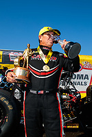 Jul 28, 2019; Sonoma, CA, USA; NHRA top fuel driver Billy Torrence celebrates after winning the Sonoma Nationals at Sonoma Raceway. Mandatory Credit: Mark J. Rebilas-USA TODAY Sports