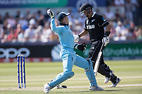 Jos Buttler (England) throws to the bowlers end in an attempt to run out Williamson during England vs New Zealand, ICC World Cup Cricket at The Riverside Ground on 3rd July 2019