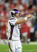 Dec 6, 2009; Glendale, AZ, USA; Minnesota Vikings quarterback (4) Brett Favre points to the sideline against the Arizona Cardinals at University of Phoenix Stadium. The Cardinals defeated the Vikings 30-17. Mandatory Credit: Mark J. Rebilas-