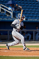 Jacksonville Jumbo Shrimp pinch hitter Eric Jagielo (25) follows through on a swing during a game against the Biloxi Shuckers on May 6, 2018 at MGM Park in Biloxi, Mississippi.  Biloxi defeated Jacksonville 6-5.  (Mike Janes/Four Seam Images)