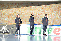 SPEED SKATING: COLLALBO: Arena Ritten, 10-01-2019, ISU European Speed Skating Championships, Arjen Wolters (Trainer/coach Gewest Fryslân), Wouter olde Heuvel (Trainer/coach), Peter Kolder (Trainer/coach), ©photo Martin de Jong