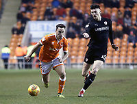 Blackpool's John O'Sullivan vies for possession with  Barnsley's Kieffer Moore<br /> <br /> Photographer Rich Linley/CameraSport<br /> <br /> The EFL Sky Bet League One - Blackpool v Barnsley - Saturday 22nd December 2018 - Bloomfield Road - Blackpool<br /> <br /> World Copyright &copy; 2018 CameraSport. All rights reserved. 43 Linden Ave. Countesthorpe. Leicester. England. LE8 5PG - Tel: +44 (0) 116 277 4147 - admin@camerasport.com - www.camerasport.com
