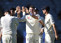 James Anderson celebrates the wicket of Raval.<br /> New Zealand Blackcaps v England. 1st day/night test match. Eden Park, Auckland, New Zealand. Day 1, Thursday 22 March 2018. &copy; Copyright Photo: Andrew Cornaga / www.Photosport.nz