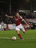 Niall McGinn shoots in the Aberdeen v St Mirren Scottish Communities League Cup match played at Pittodrie Stadium, Aberdeen on 30.10.12.