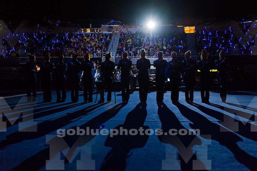 The University of Michigan women's gymnastics team,196.950 - 196.800, senior night victory over Utah at Crisler Arena in Ann Arbor, MI on March 10, 2018.