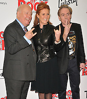 Julian Fellowes, Sarah Ferguson and Lord Andrew Lloyd Webber at the &quot;School of Rock: The Musical&quot; VIP opening night, New London Theatre, Drury Lanes, London, England, UK, on Monday 14 November 2016. <br /> CAP/CAN<br /> &copy;CAN/Capital Pictures /MediaPunch ***NORTH AND SOUTH AMERICAS ONLY***