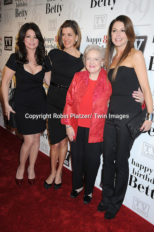 """Valerie Bertinelli, Wendie Malick, Betty White and Jane Leeves attending Betty White's 89th Birthday party given by TV Land and the cast of """"Hot in Cleveland"""" on January 18, 2011 at .Le Cirque in New York City."""