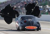 Apr. 26, 2013; Baytown, TX, USA: NHRA pro mod driver Chip King during qualifying for the Spring Nationals at Royal Purple Raceway. Mandatory Credit: Mark J. Rebilas-